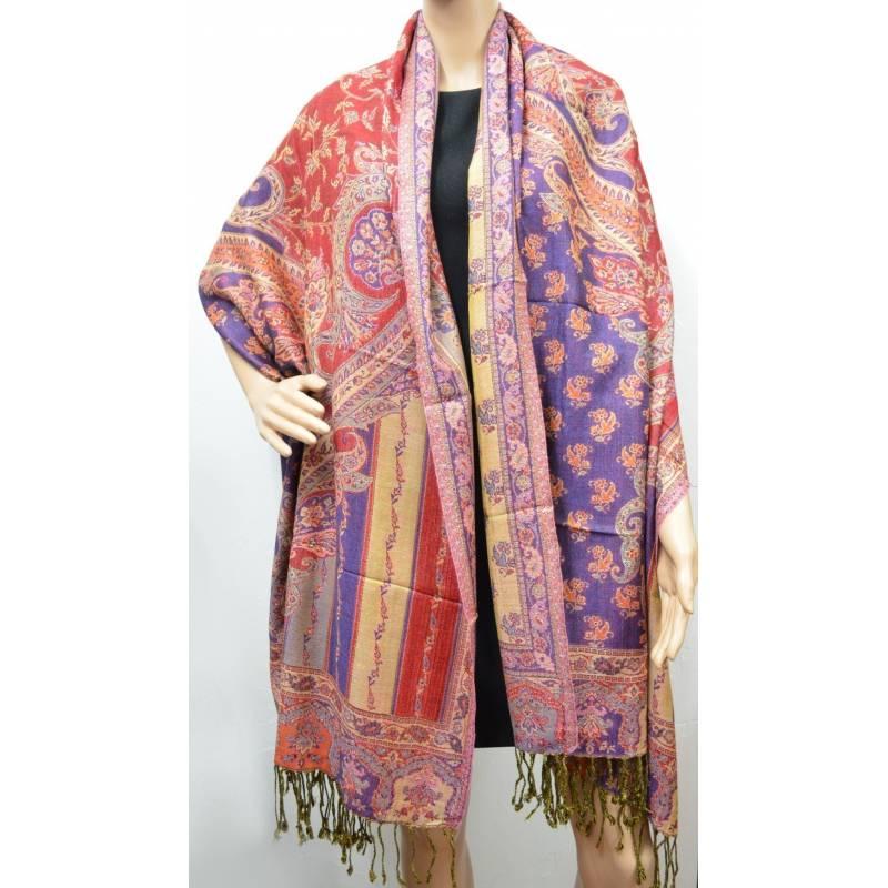 Pashmina Jamawar viscose - violet, rouge