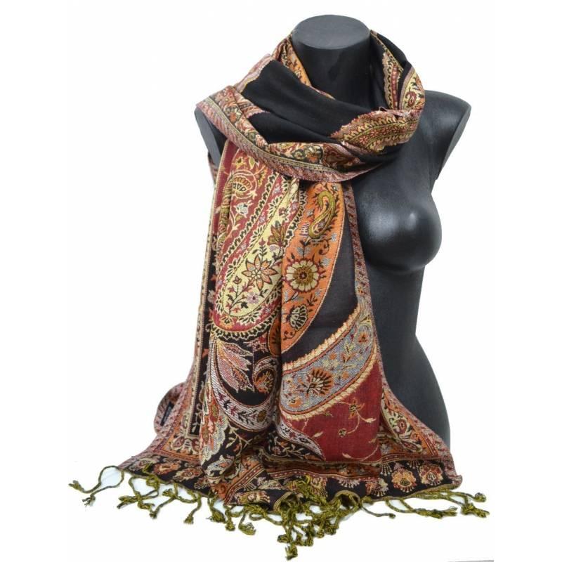 Pashmina Jamawar viscose - noir, rouge