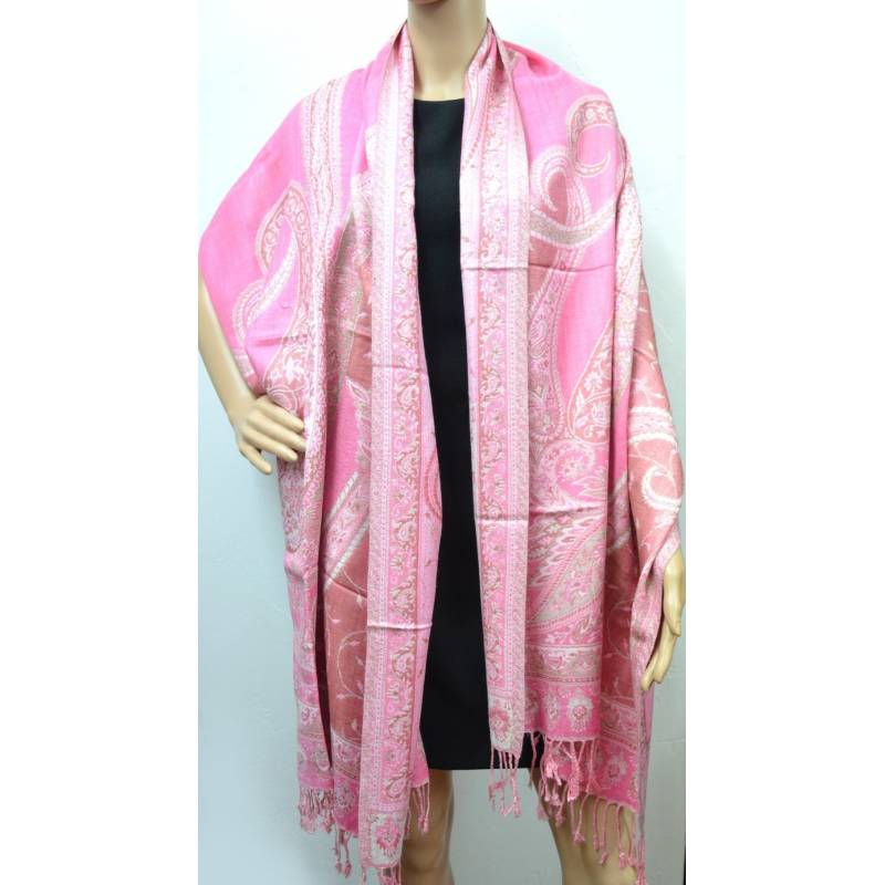 Pashmina Jamawar viscose - rose clair, blanc