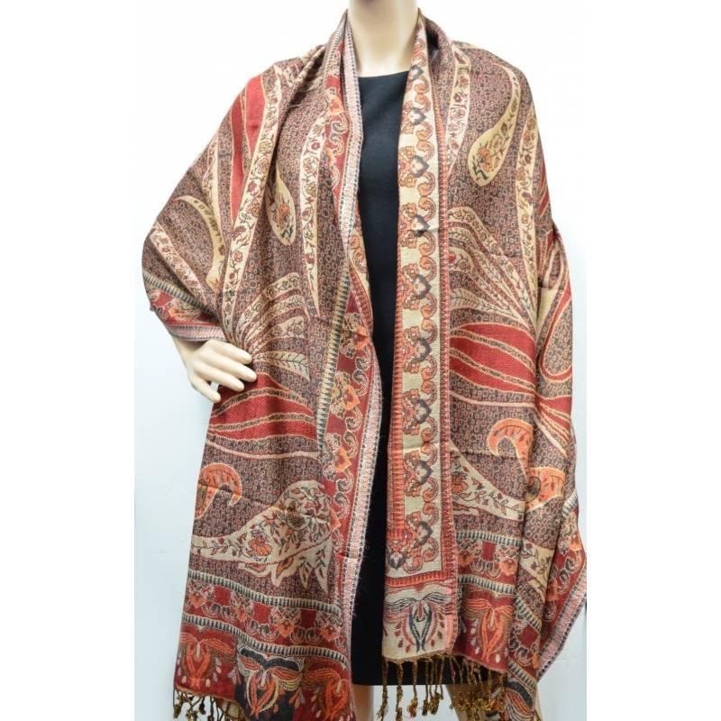 Pashmina Jamawar viscose - rouge, noir, orange