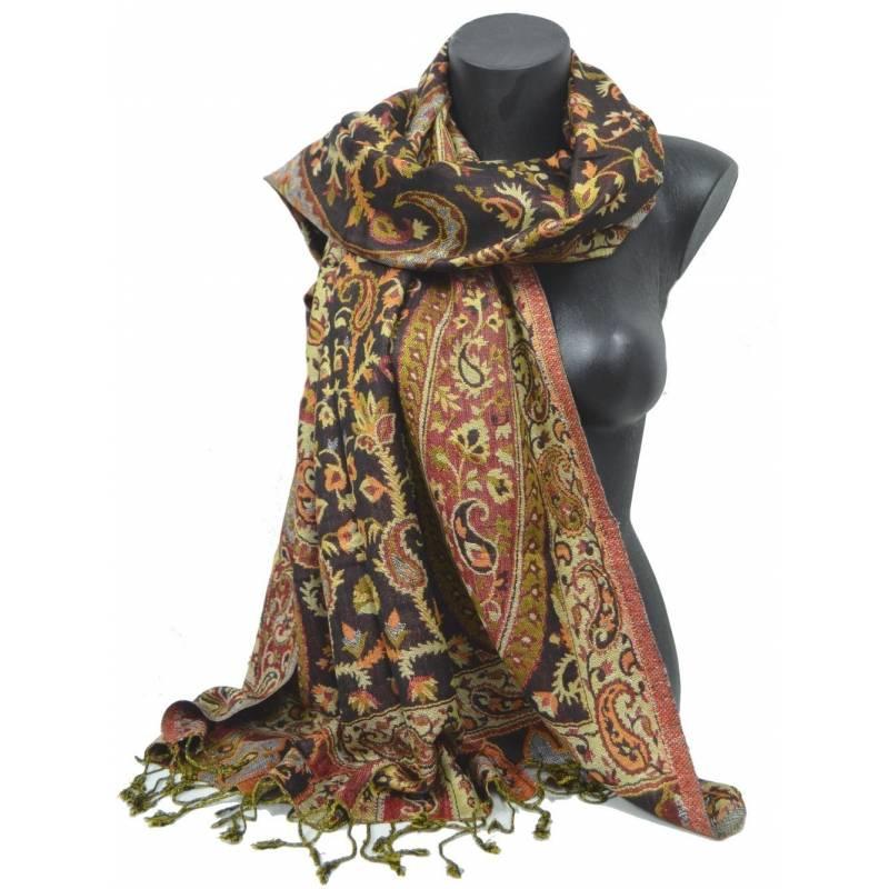 Pashmina Jamawar viscose - rouge, noir, beige