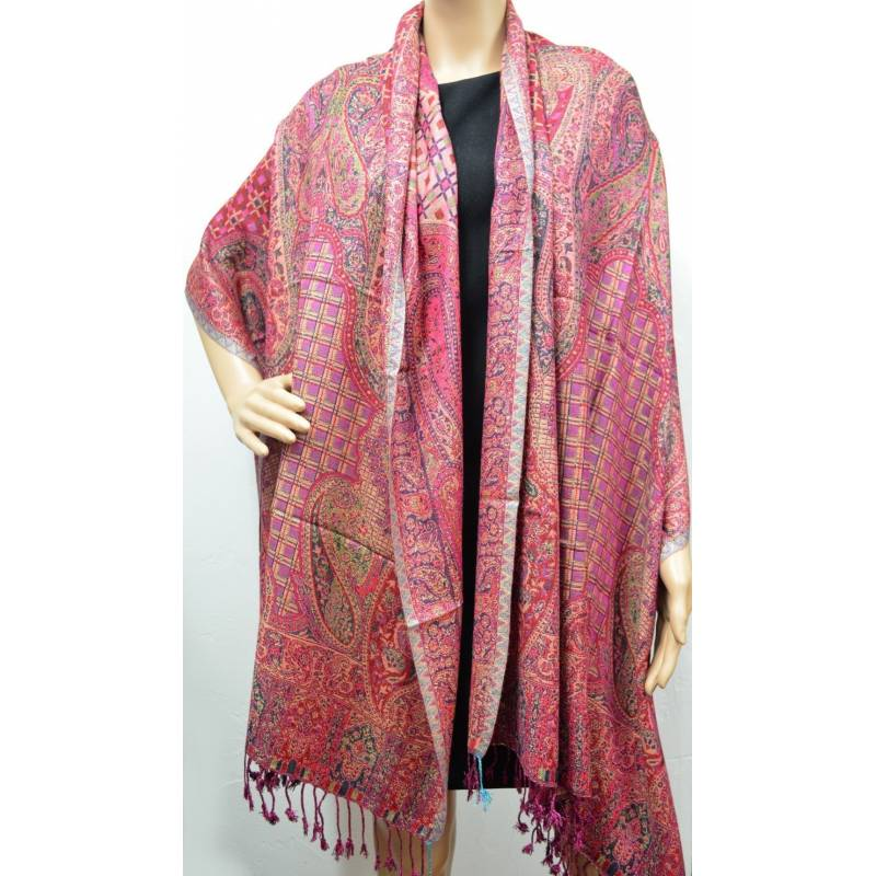 Pashmina Jamavar viscose - rouge, rose