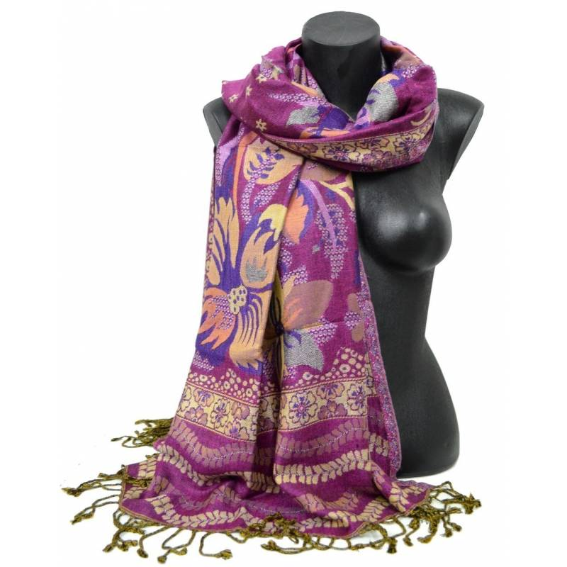 Pashmina Jamawar viscose - violet et beige à  fleur