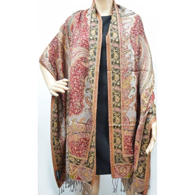Pashmina Jamavar viscose - rouge, gris, rose, noir