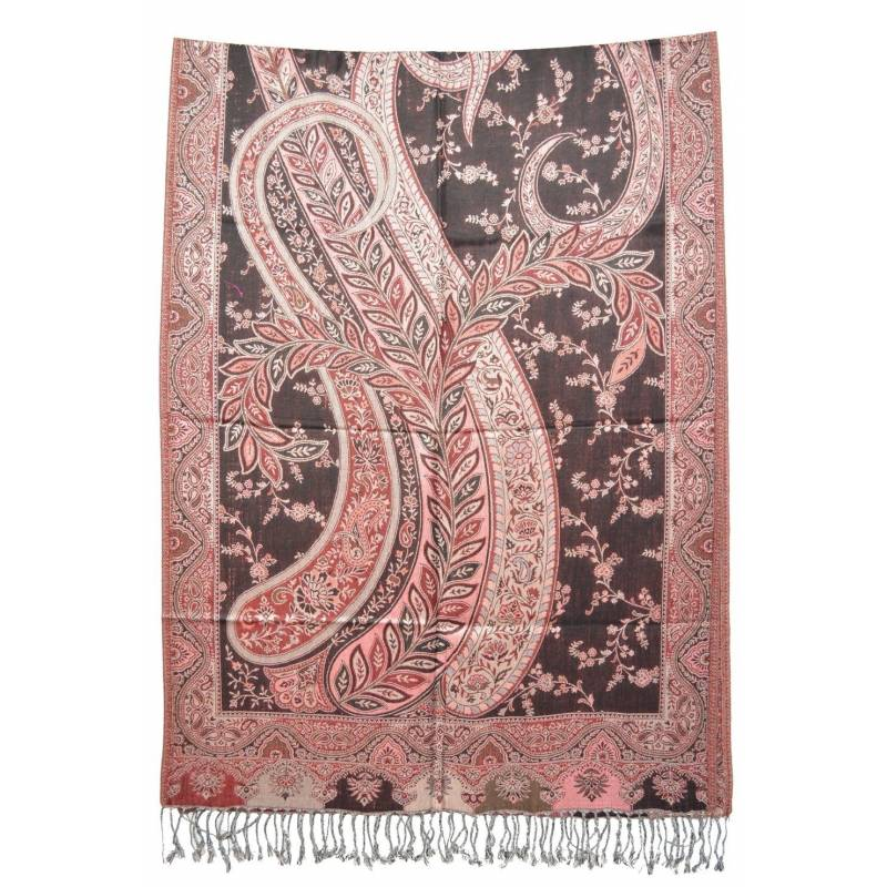 Pashmina Jamavar viscose - noir, rouge, rose