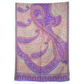 Pashmina Kashmiri - violet, beige, fleurs