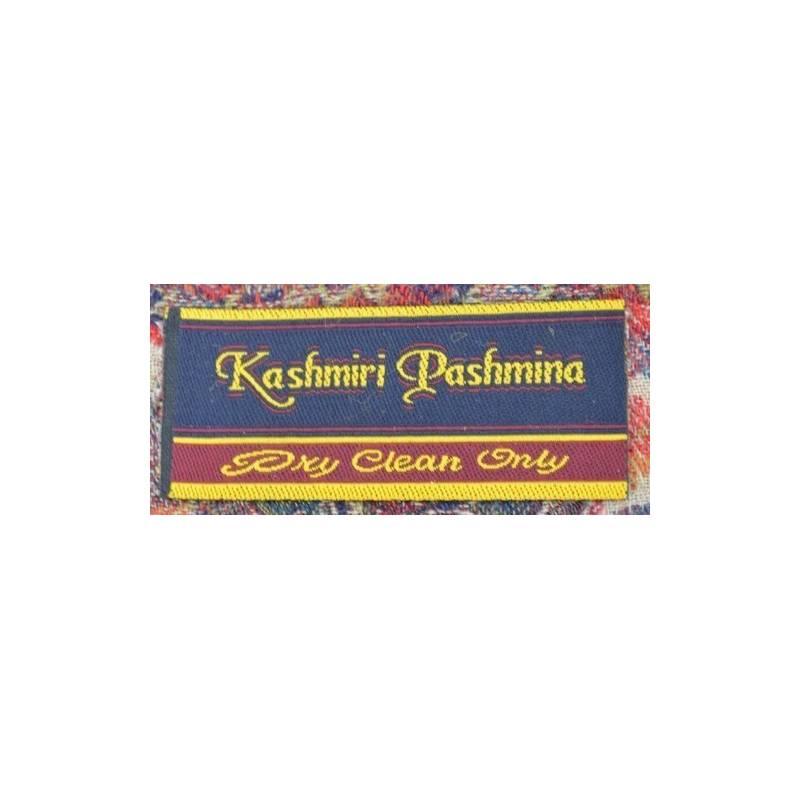 Pashmina Kashmiri - violet, bleu, beige, fleurs