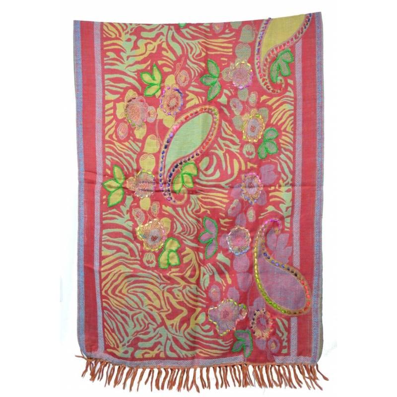 Pashmina laine antique brodé - rouge, vert, beige